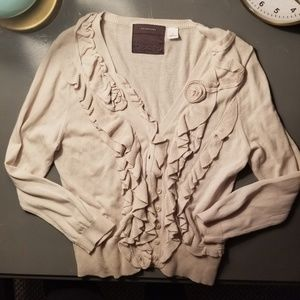 Anthro Guinevere Ruffled Knit Cardigan